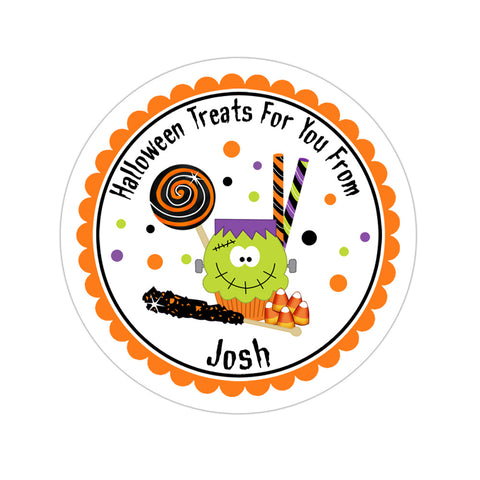 Halloween Cupcake And Candy Personalized Sticker