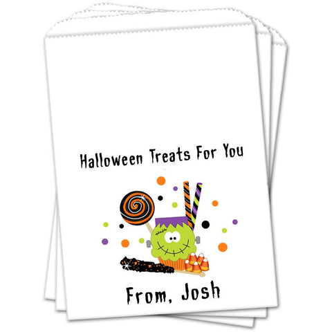 Frankenstein Cupcake and Treats Halloween Favor Bags - Sets of 25