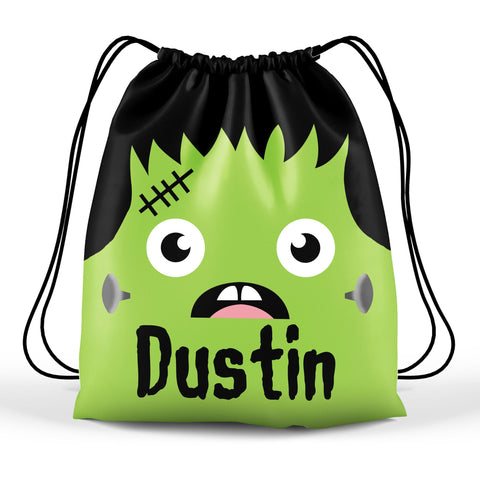 Personalized Halloween Trick Or Treat Bag, Kids Drawstring Bag - Frankenstein Face