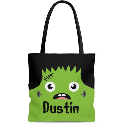 Personalized Halloween Trick Or Treat Bag, Kids Halloween Tote Bag - Frankenstein Face