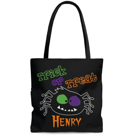 Personalized Halloween Trick Or Treat Bag, Kids Halloween Tote Bag - Spooky Spider