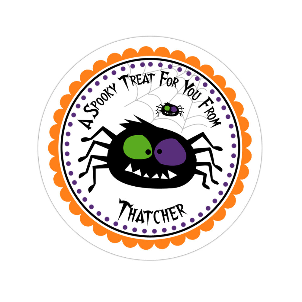 Spooky Spider Personalized Sticker Halloween Stickers - INKtropolis