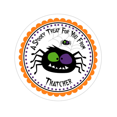 Spooky Spider Personalized Halloween Sticker