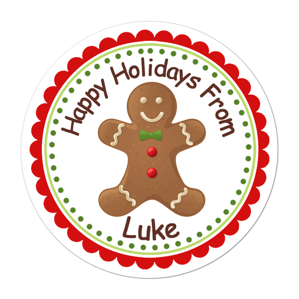 Gingerbread Man Personalized Sticker Christmas Stickers - INKtropolis