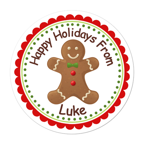 Gingerbread Man Personalized Christmas Gift Sticker