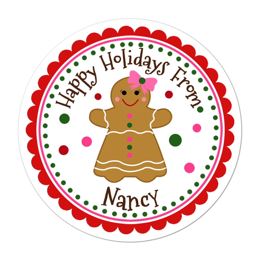 Gingerbread Girl Personalized Sticker Christmas Stickers - INKtropolis
