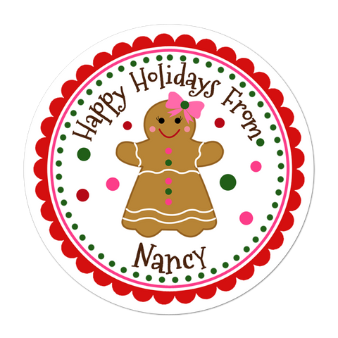 Gingerbread Girl Personalized Christmas Gift Sticker
