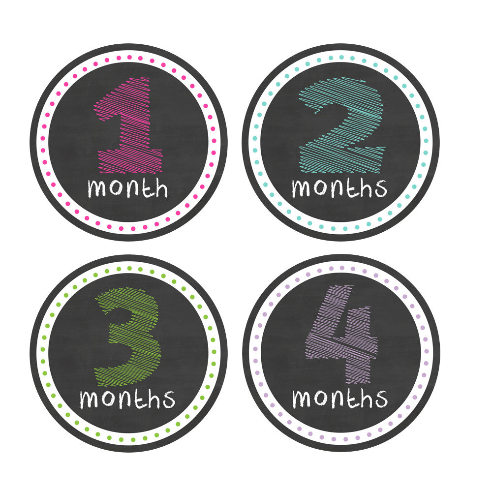 Girl Colorful Chalkboard Style Monthly Baby Stickers onesie sticker - INKtropolis