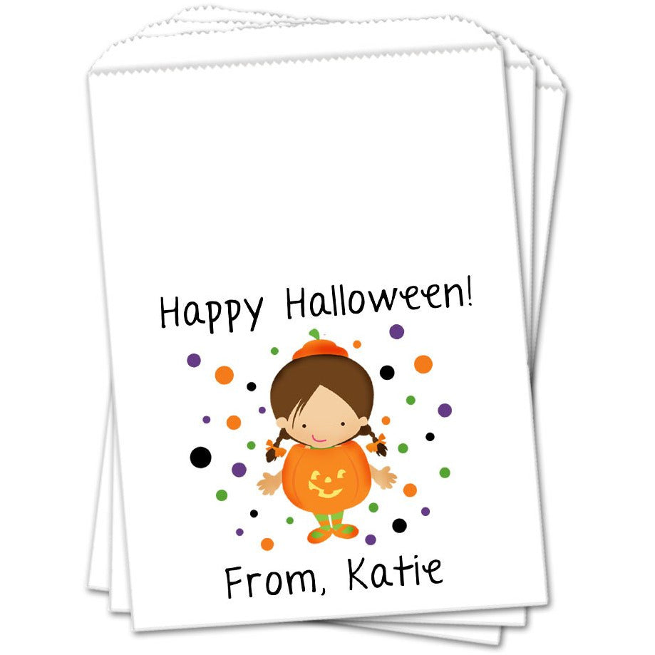 Girl Pumpkin Costume Halloween Favor Bags - Sets of 25 Halloween Favor Bags - INKtropolis