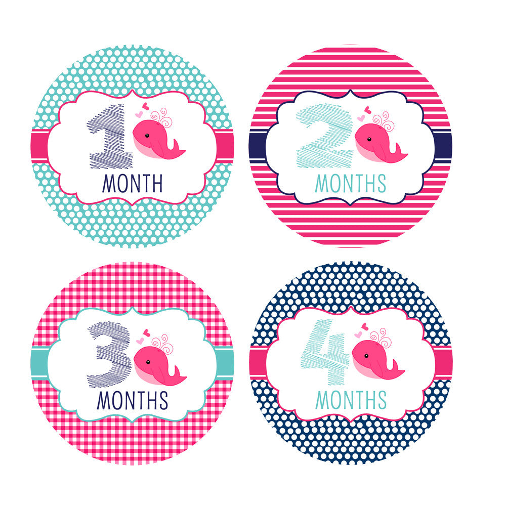 c70ae2ce6 Home > Monthly Onesie Stickers - Milestone Stickers For Your Little One >  Girl Nautical Whale Monthly Baby Stickers