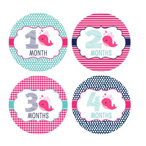 Girl Nautical Whale Monthly Baby Stickers