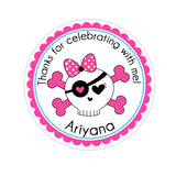 Girl Skull With Bow Personalized Sticker Birthday Stickers - INKtropolis