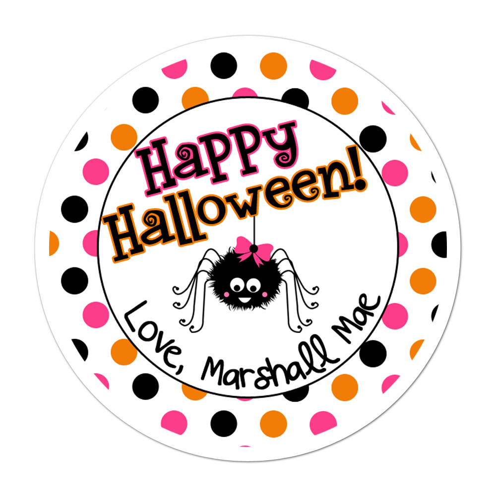 Girly Spider Polka Dots Personalized Sticker Halloween Stickers - INKtropolis