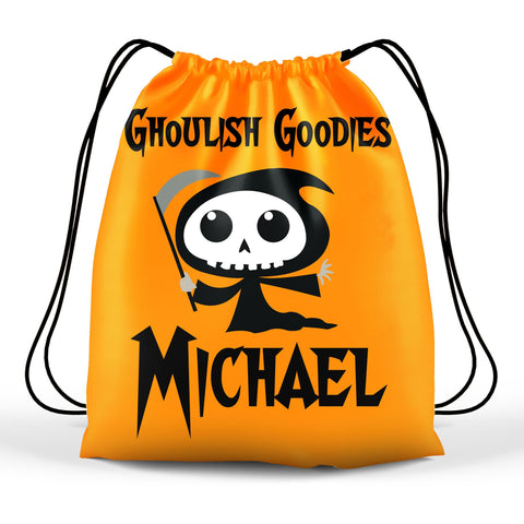 Personalized Halloween Trick Or Treat Bag, Kids Drawstring Bag - Grim Reaper
