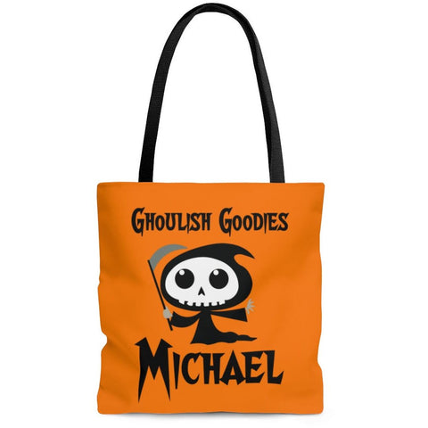 Personalized Halloween Trick Or Treat Bag, Kids Halloween Tote Bag - Grim Reaper