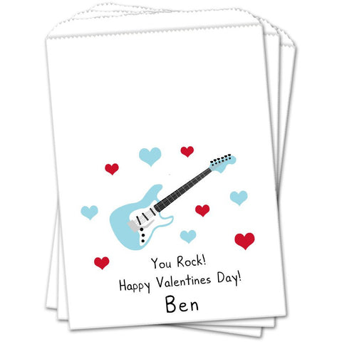 Blue Guitar Valentines Day Favor Bags