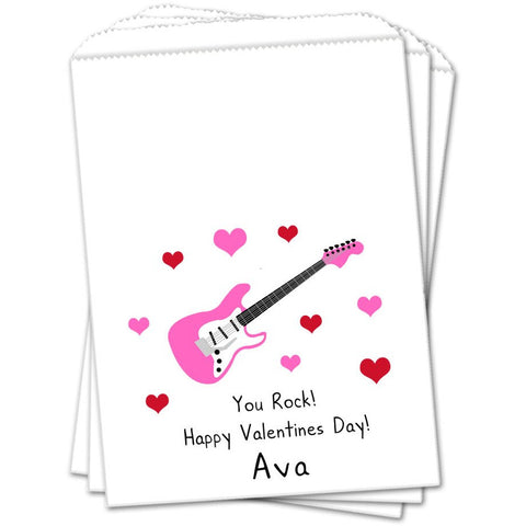 Pink Guitar Valentines Day Favor Bags - Sets of 25