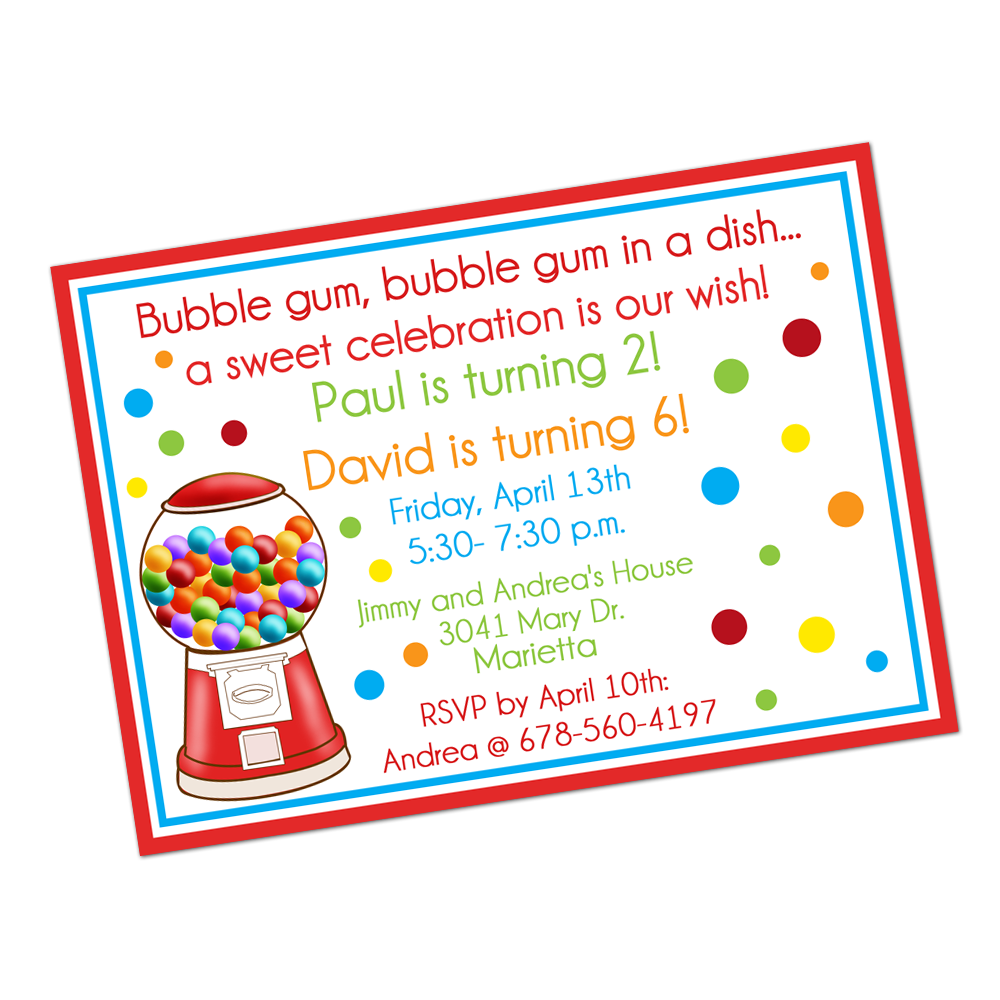 Gumballs Digital Invitation Digital Invitations - INKtropolis