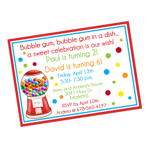 Gumballs Digital Birthday Invitation
