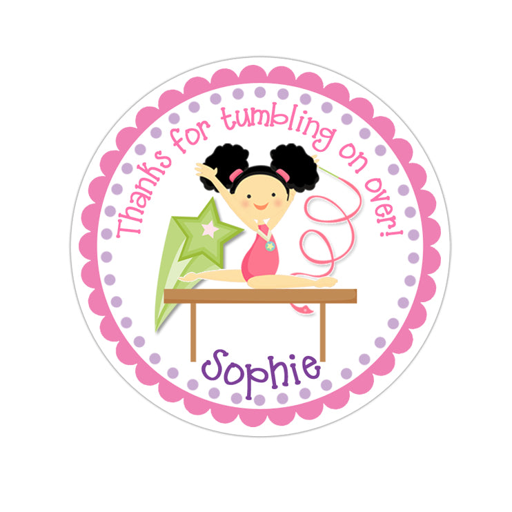 Black Hair Girl Gymnastic Personalized Sticker Birthday Stickers - INKtropolis