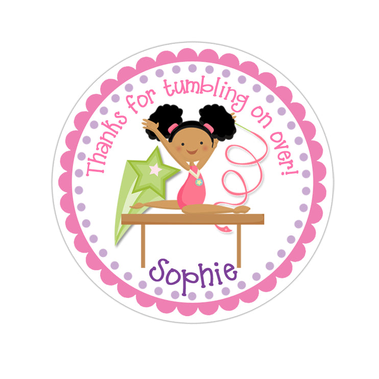 African American Girl Gymnastic Personalized Sticker Birthday Stickers - INKtropolis