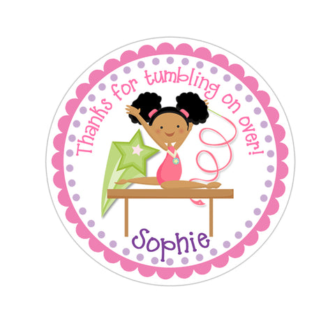 African American Girl Gymnastic Personalized Sticker