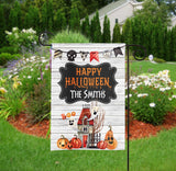Personalized Halloween Garden Flag - Haunted House