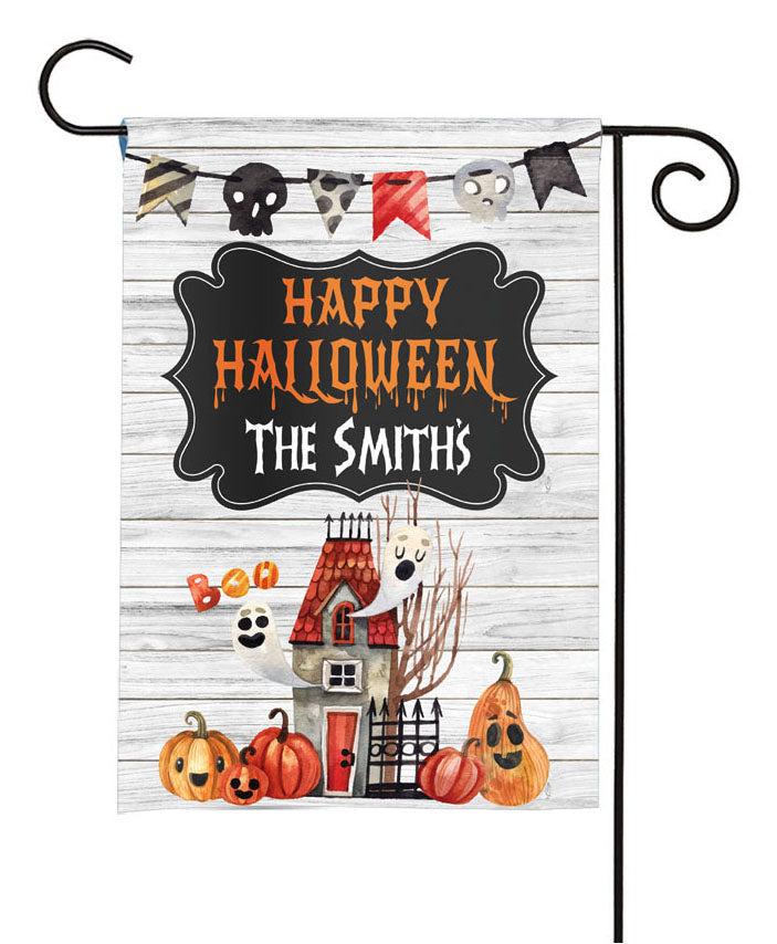 personalized haunted house halloween yard flag