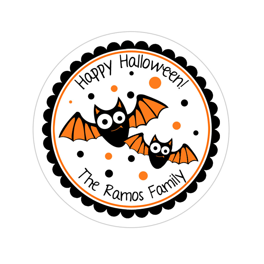 Halloween Bats Personalized Sticker Halloween Stickers - INKtropolis