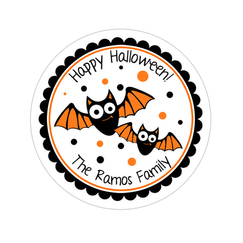 Halloween Bats Personalized Halloween Sticker