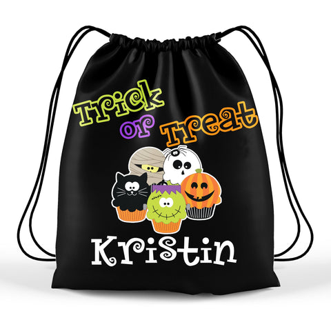 Personalized Halloween Trick Or Treat Bag, Kids Drawstring Bag - Spooky Cupcakes