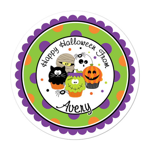 Halloween Cupcakes Polka Dot Border Personalized Halloween Sticker