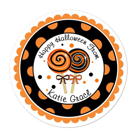 Halloween Lollipops Wide Polka Dot Border Personalized Sticker