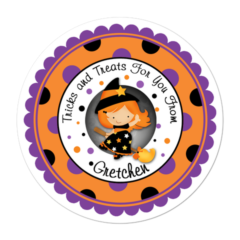Witch Wide Polka Dot Border Personalized Sticker