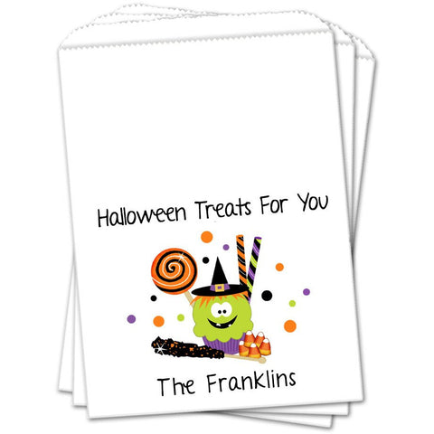 Witch Cupcake and Treats Halloween Favor Bags - Sets of 25