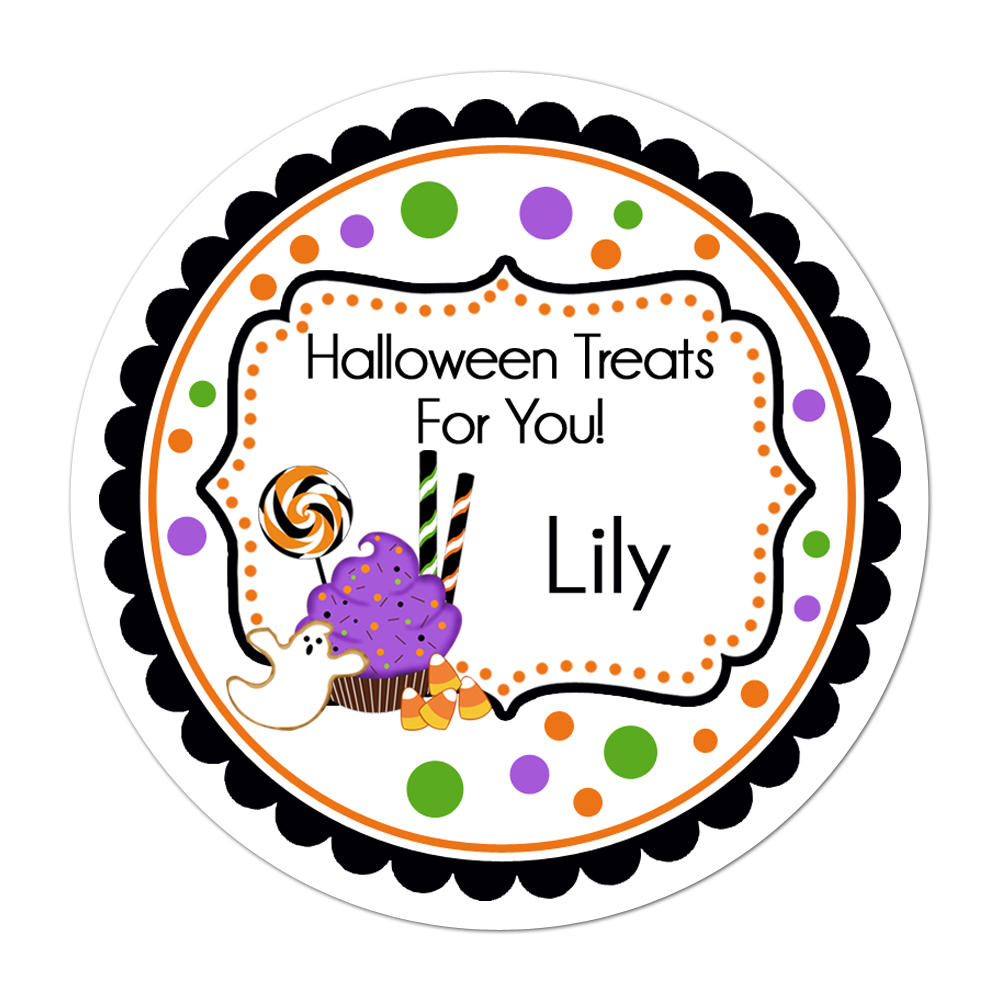 Halloween Treats Fancy Frame Personalized Sticker Halloween Stickers - INKtropolis