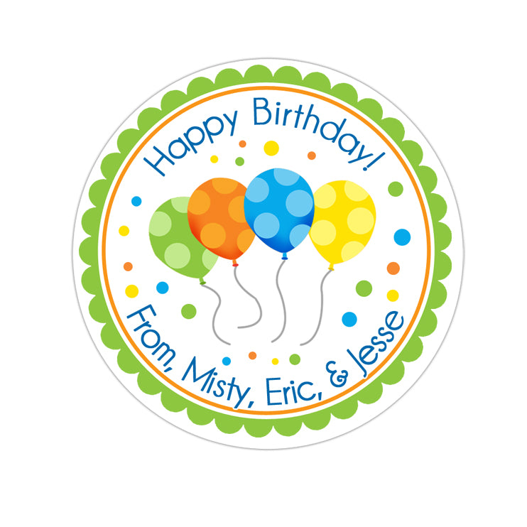 Happy Birthday Balloons Personalized Sticker