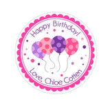 Pink and Purple Birthday Balloons Personalized Sticker Birthday Stickers - INKtropolis