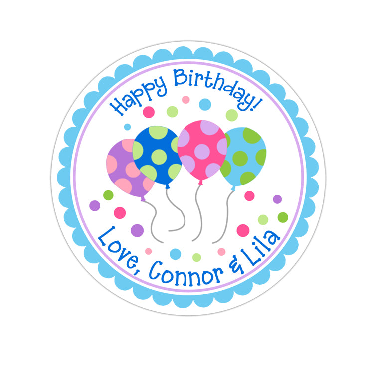 Pastel Birthday Balloons Personalized Sticker Birthday Stickers - INKtropolis