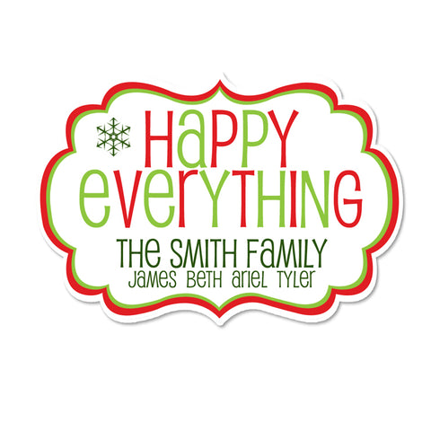 Happy Everything Fancy Framed Shaped Personalized Sticker