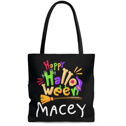 Personalized Halloween Trick Or Treat Bag, Kids Halloween Tote Bag - Happy Halloween