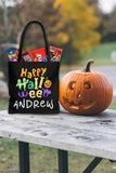 Personalized Halloween Trick Or Treat Bag, Kids Halloween Tote Bag - Happy Halloween Too