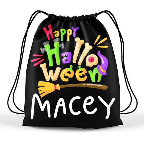 Personalized Halloween Trick Or Treat Bag, Kids Drawstring Bag - Happy Halloween