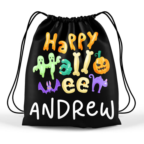 Personalized Halloween Trick Or Treat Bag, Kids Drawstring Bag - Happy Halloween Too