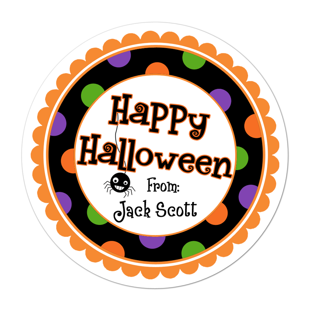Happy Halloween Wide Polka Dot Border Personalized Sticker Halloween Stickers - INKtropolis