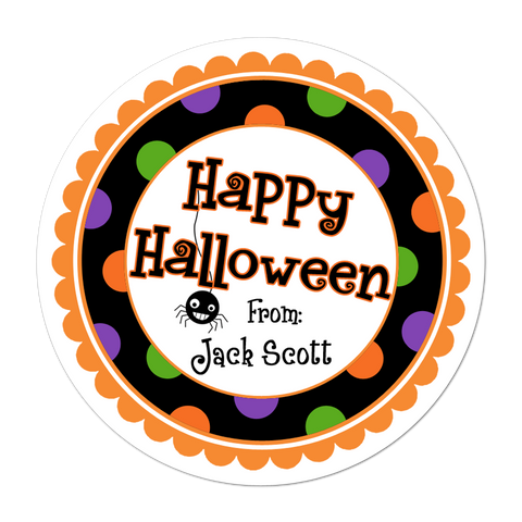 Happy Halloween Wide Polka Dot Border Personalized Sticker