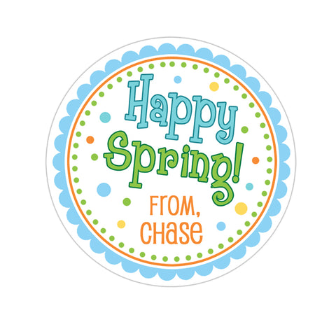 Happy Spring Blue and Green Personalized Sticker