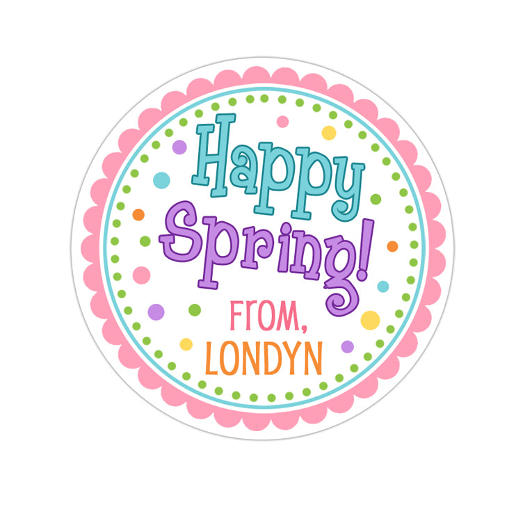 Happy Spring Blue and Purple Personalized Sticker Other Holiday Stickers - INKtropolis