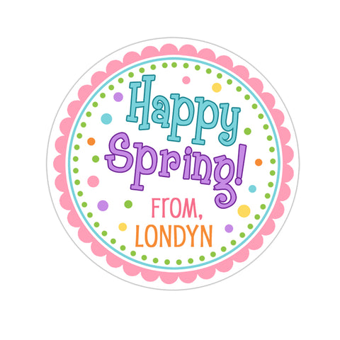 Happy Spring Blue and Purple Personalized Sticker