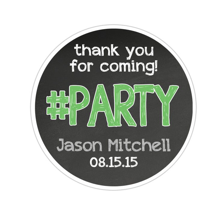#Party Thank You Chalkboard Background Personalized Sticker Birthday Stickers - INKtropolis
